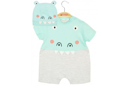BABY SHIRT & BOY'S HAT 100% COTTON  MELANGE