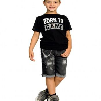 100% COTTON BOY SHIRT BLACK