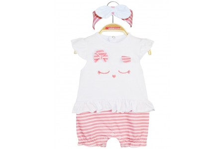 BABY DRESS & GIRL RIBBON 95% COTTON -5% ELASTAN STRIPED