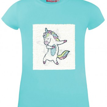 GIRLS T-Shirt VEVE 95% COTTON-5% ELASTANE AQUA