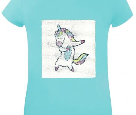 GIRLS T-Shirt VEVE 95% COTTON-5% ELASTANE AQUA