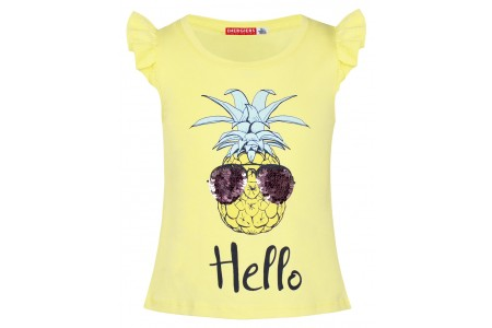 T-SHIRT GIRLS ΒEΒΕ 92% COTTON -8% ELASTANE YELLOW