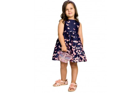 GIRL DRESS WEBE DRESS 100% COTTON OCEAN BLUE