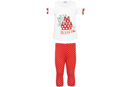 GIRL SET VEVE 95% COTTON -5% ELASTAN RED