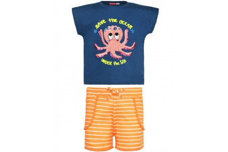 GIRL SET VEVE 100% COTTON  NEON ORANGE