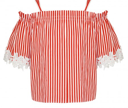 GIRLS TOP 100% COTTON RED