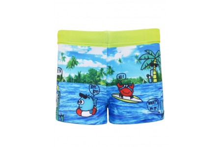 Boxer type swimsuit with printed pattern