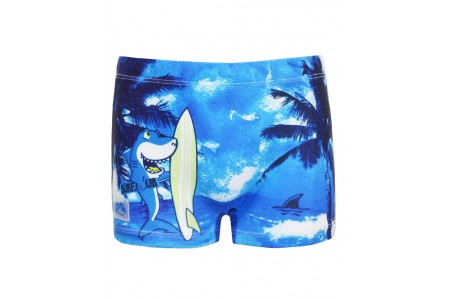 Boxer type swimsuit with shark print