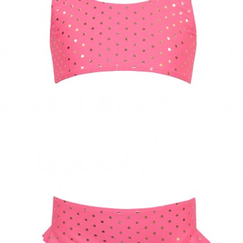 Swimsuit set 2 pcs., With polka dot gold print, ruffles and decorative bow on the back