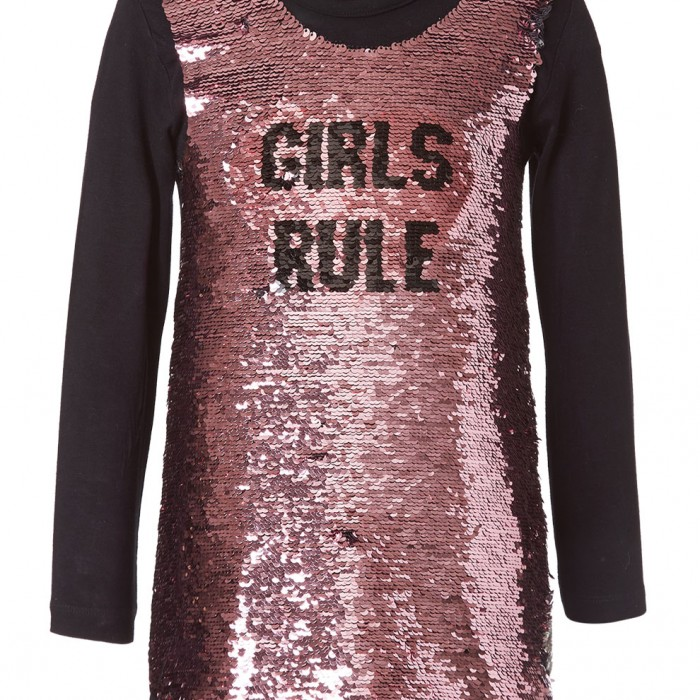 Dress with reversible sequins PINK