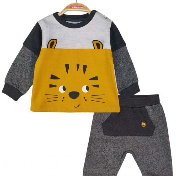 Set of sweatshirt pants and blouse print lion with protruding ears