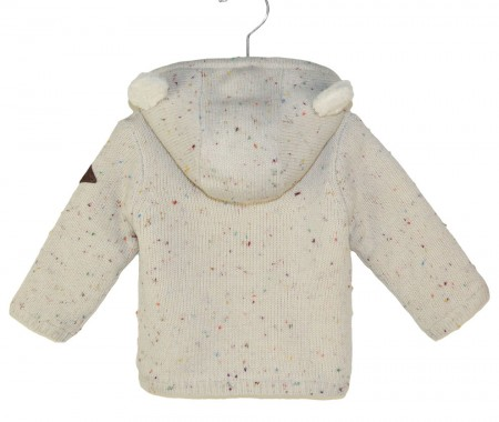 Knitted cardigan with fur inside