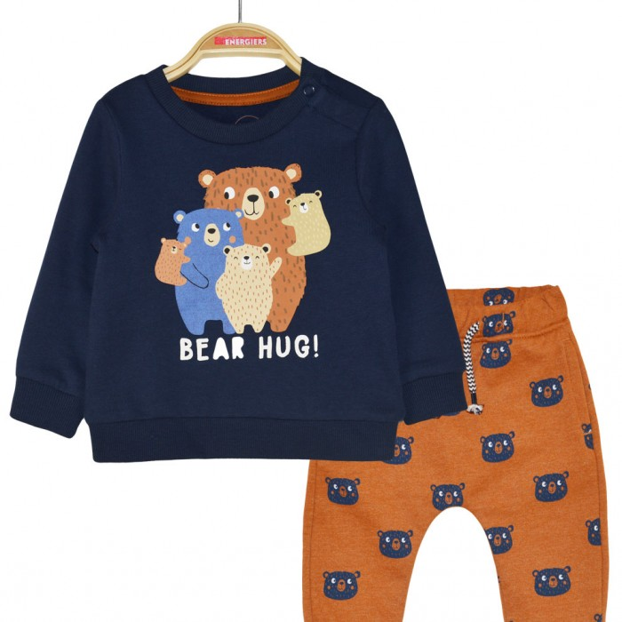 Sweatshirt set with imprinted pattern and blouse print