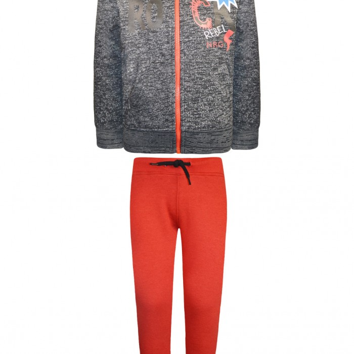 Pants suit and cardigan with hood print