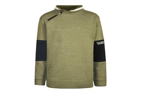 Pique sweatshirt with collar and zipper