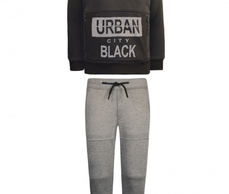 Trousers sweatshirt sweatshirt with decorative zippers and sweatshirt blouse with hood print