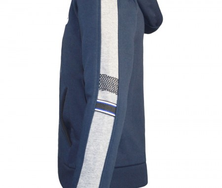 Trousers with decorative zipper and blouse with tape and net on the sleeve
