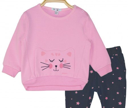Set of cotton sweatshirt and pants with stars print