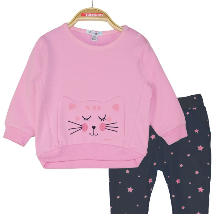 Set of cotton sweatshirt and pants with stars print