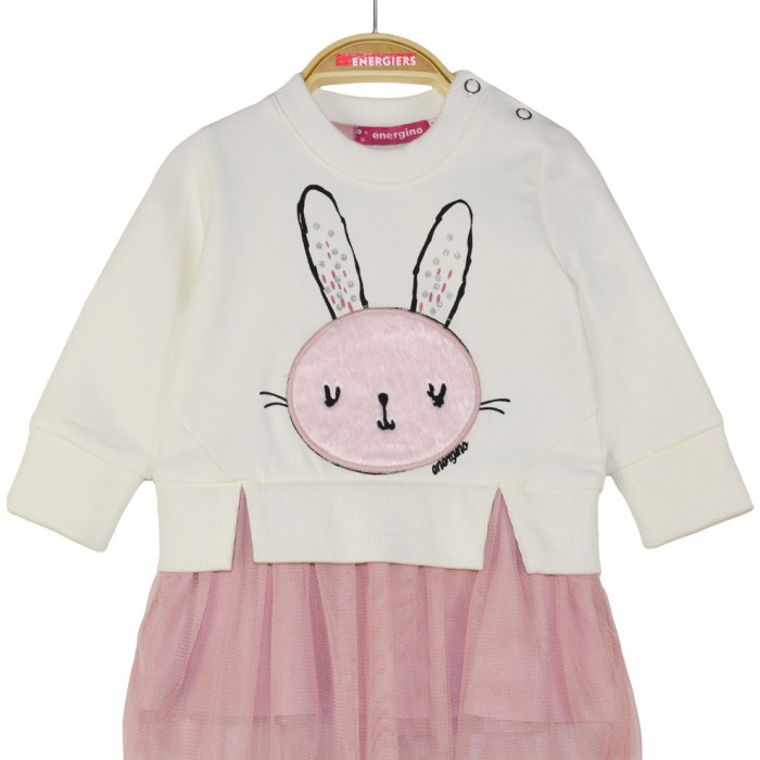 Dress with tulle and applique bunny made of fur and glitter details