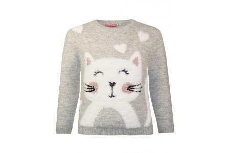 Kitten sweater pattern with metal fibers in the weave