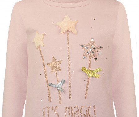 Blouse print magic wands with details of glitter, fur, rhinestones and velvet