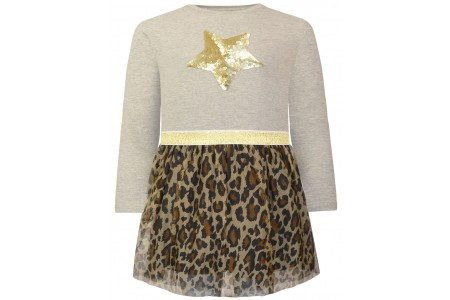 Leopard tulle dress and gold elastic band