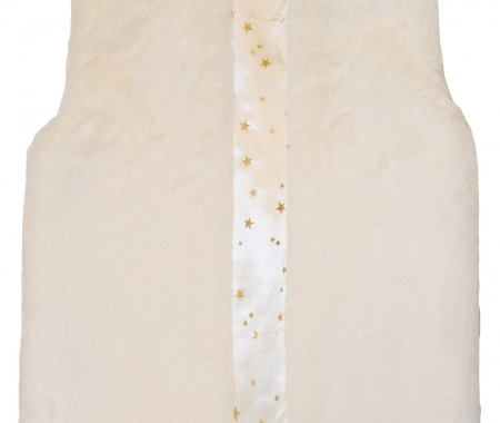 Fur vest with gold star lined print