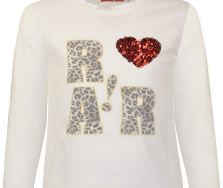 Animal print blouse and heart with sequins