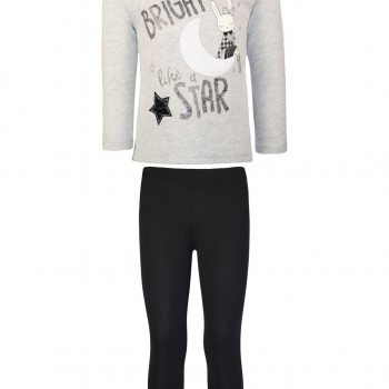 Sweatshirt and blouse set with fur and glitter details