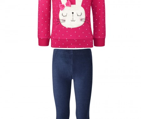 Set of corduroy leggings and blouse with fur bunny