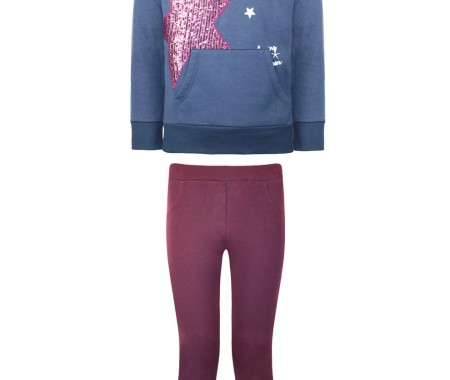 Leggings set with sequins on the side and blouse with hood and star print with sequins
