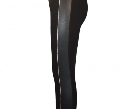 Leggings with leatherette details