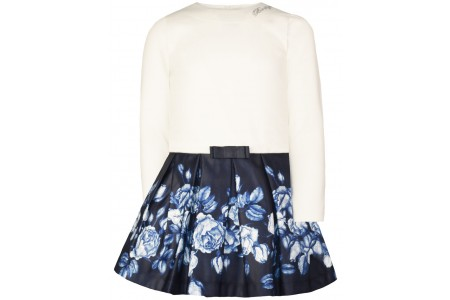 Monochrome dress on top and printed with pleats on the bottom