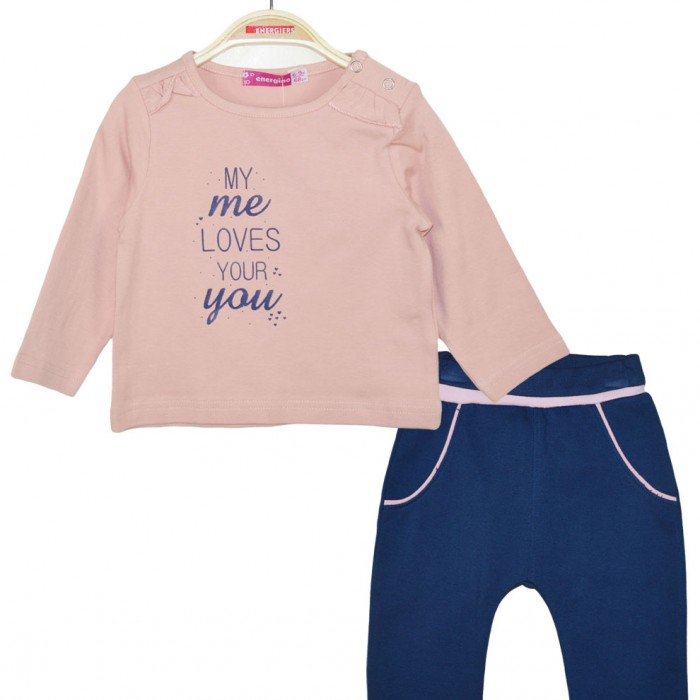 Set trousers fleece and blouse print