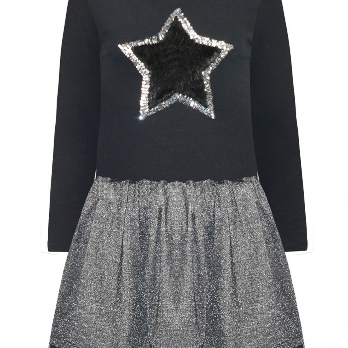 Dress with silver jackquard fabric and tulle at the bottom and decorative star with fake fur and sequins   (on order)