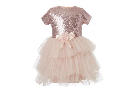 Dress from sequins and tulle fabric at the bottom PEACH