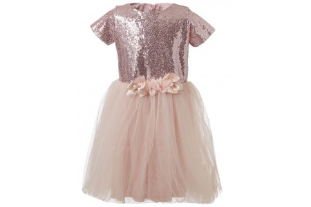 Dress with sequins and tulle fabric at the bottom PEACH