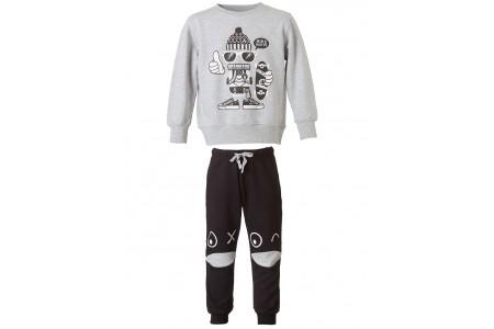 BOY SHAPE BEVE 100% COTTON Sweatshirt with details in the pants BLACK
