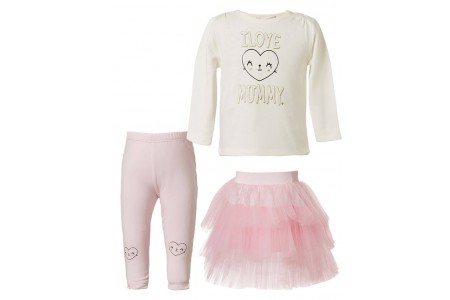 BABY SET 3 PIECES 95% COTTON - 5% SPANDEX + 100% COTTON + 100% POLYESTER PINK