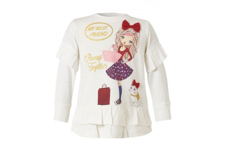 BLOUSE GIRL BEBE 100% COTTON ECRU